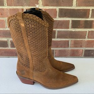 Patricia Nash leather western mid calf boots brown